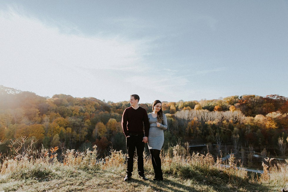 engaged on a bright fall day