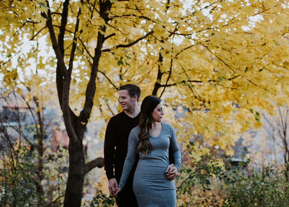 yellow tree engagement session