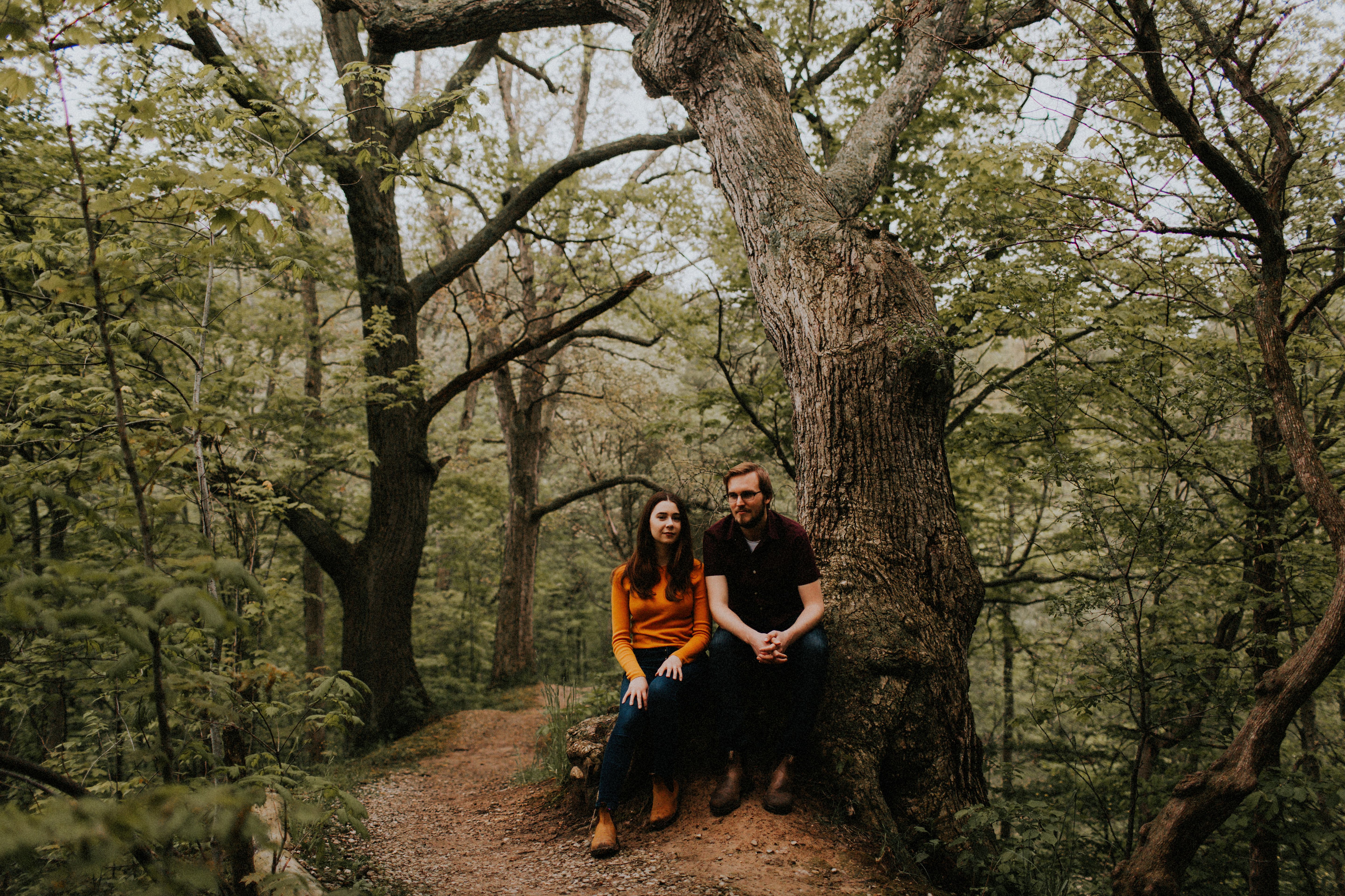couple sitting in forest