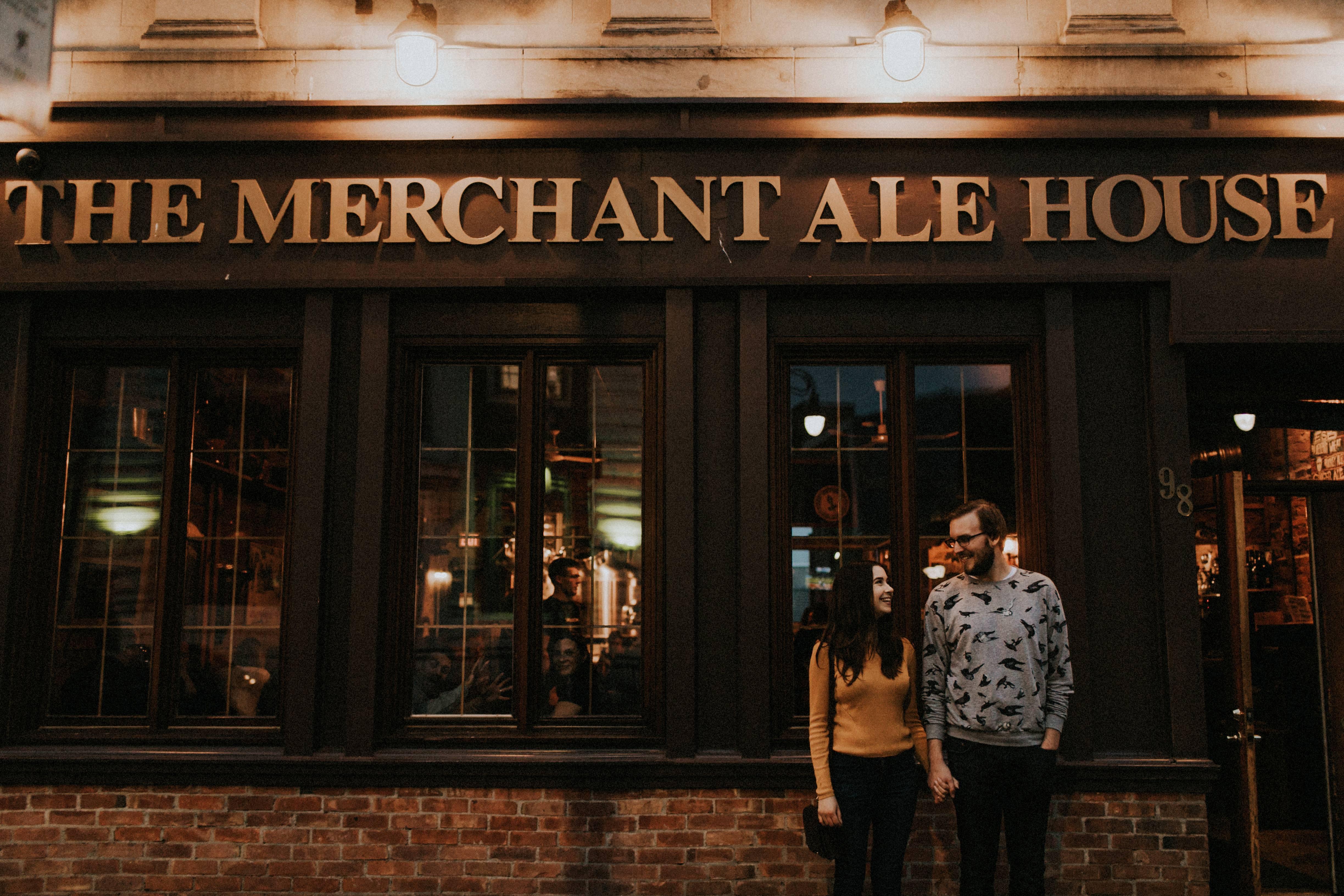 couple outside merchant ale house