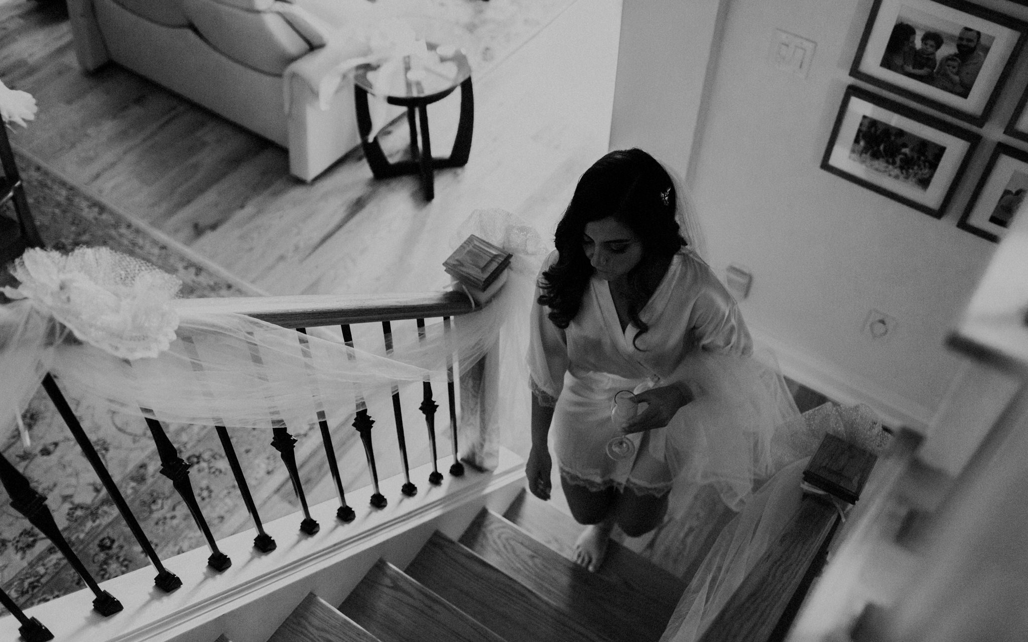 bride walks upstairs