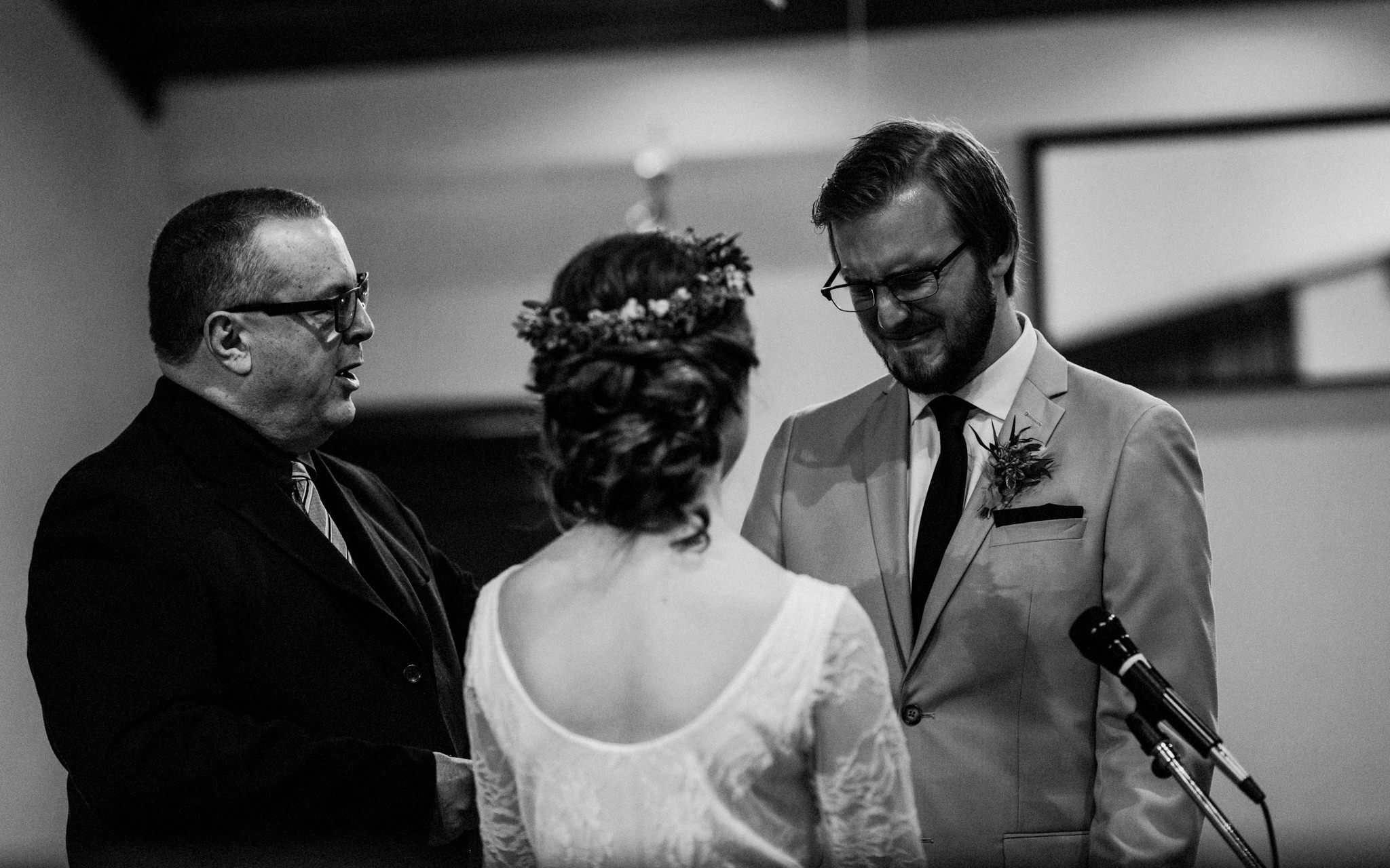 groom cries saying vows