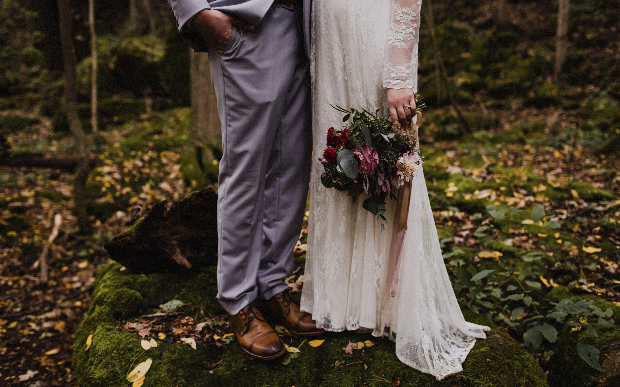 beautiful fall bouquet in brides hand