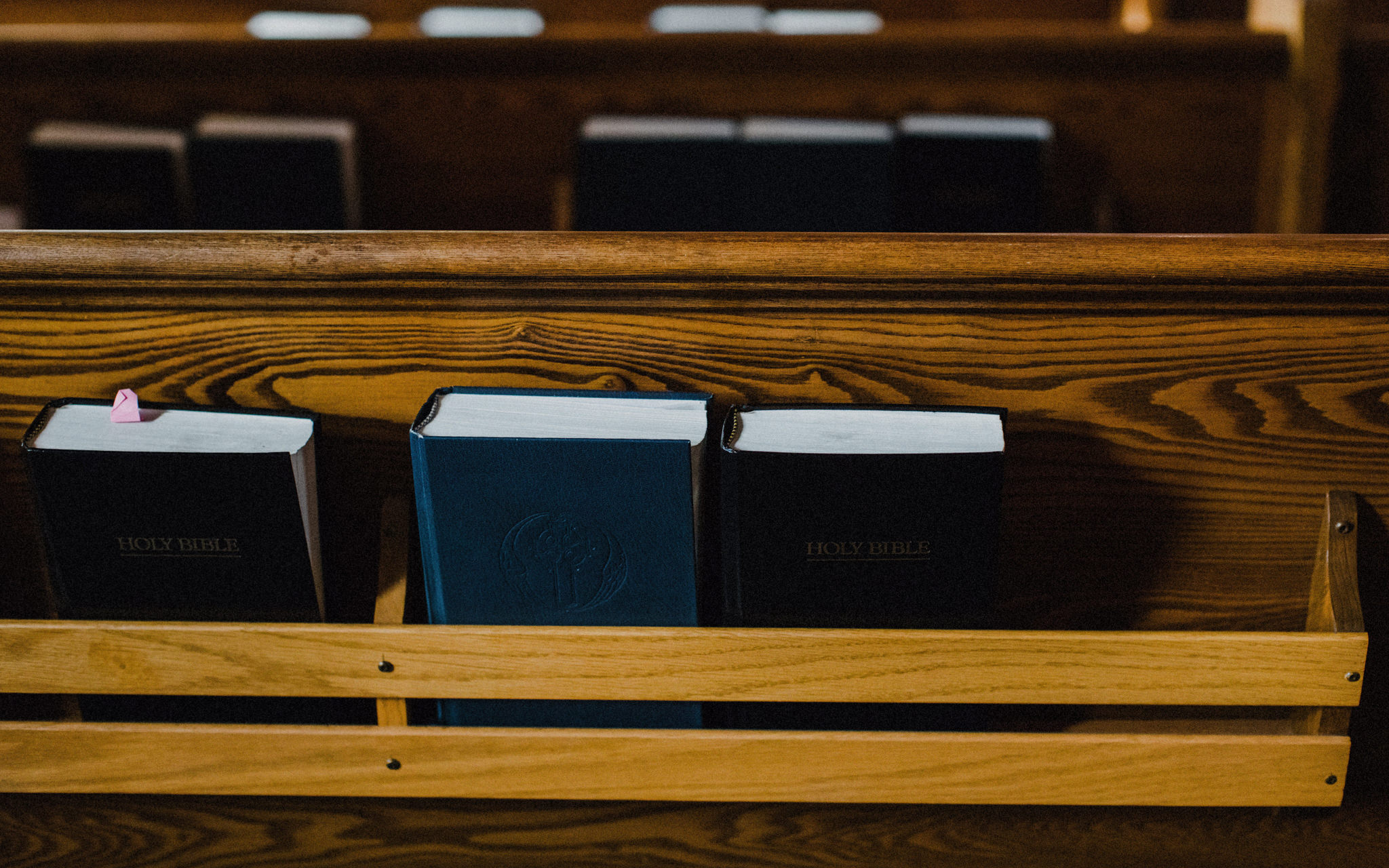 hymnals in church pew