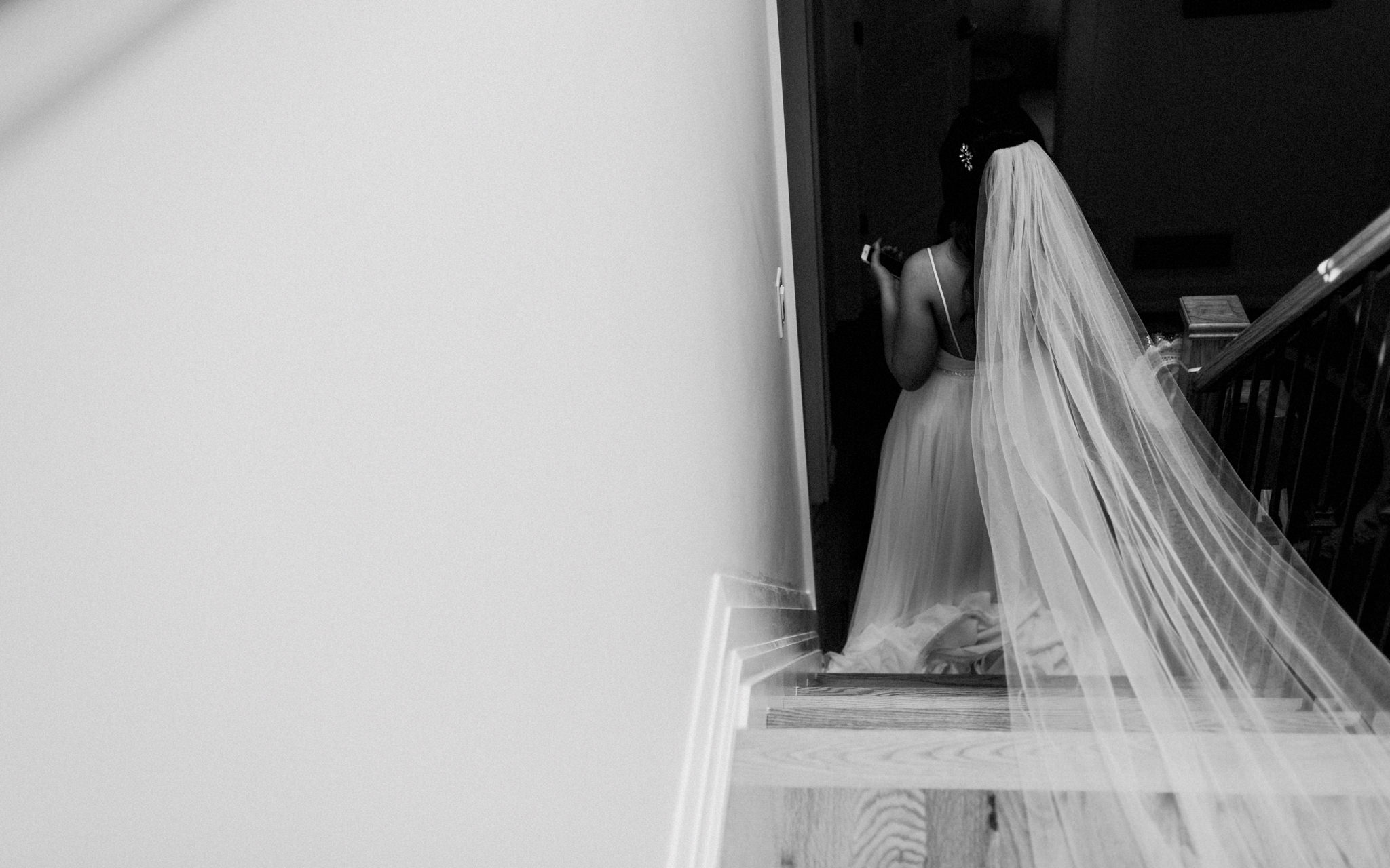 bride walks downstairs