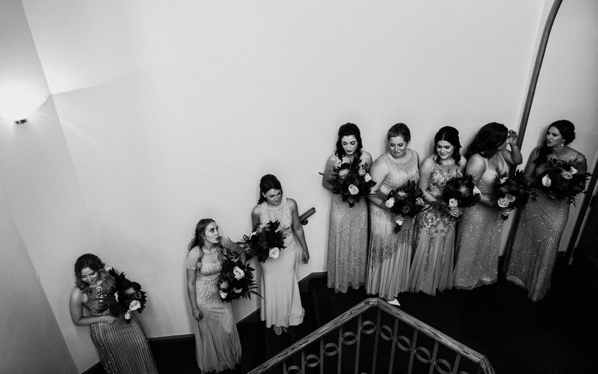bridesmaids wait for ceremony