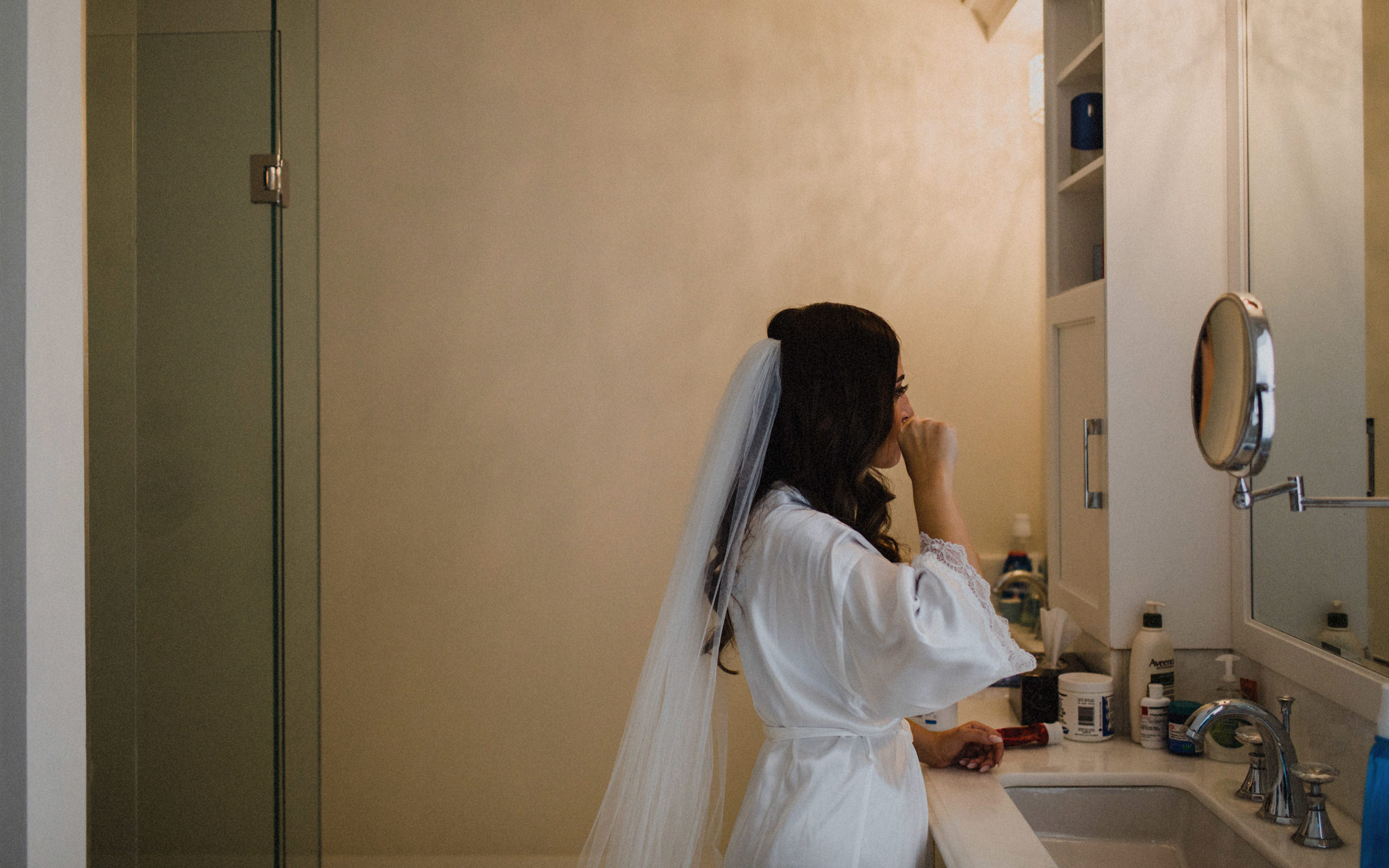 bride brushes teeth