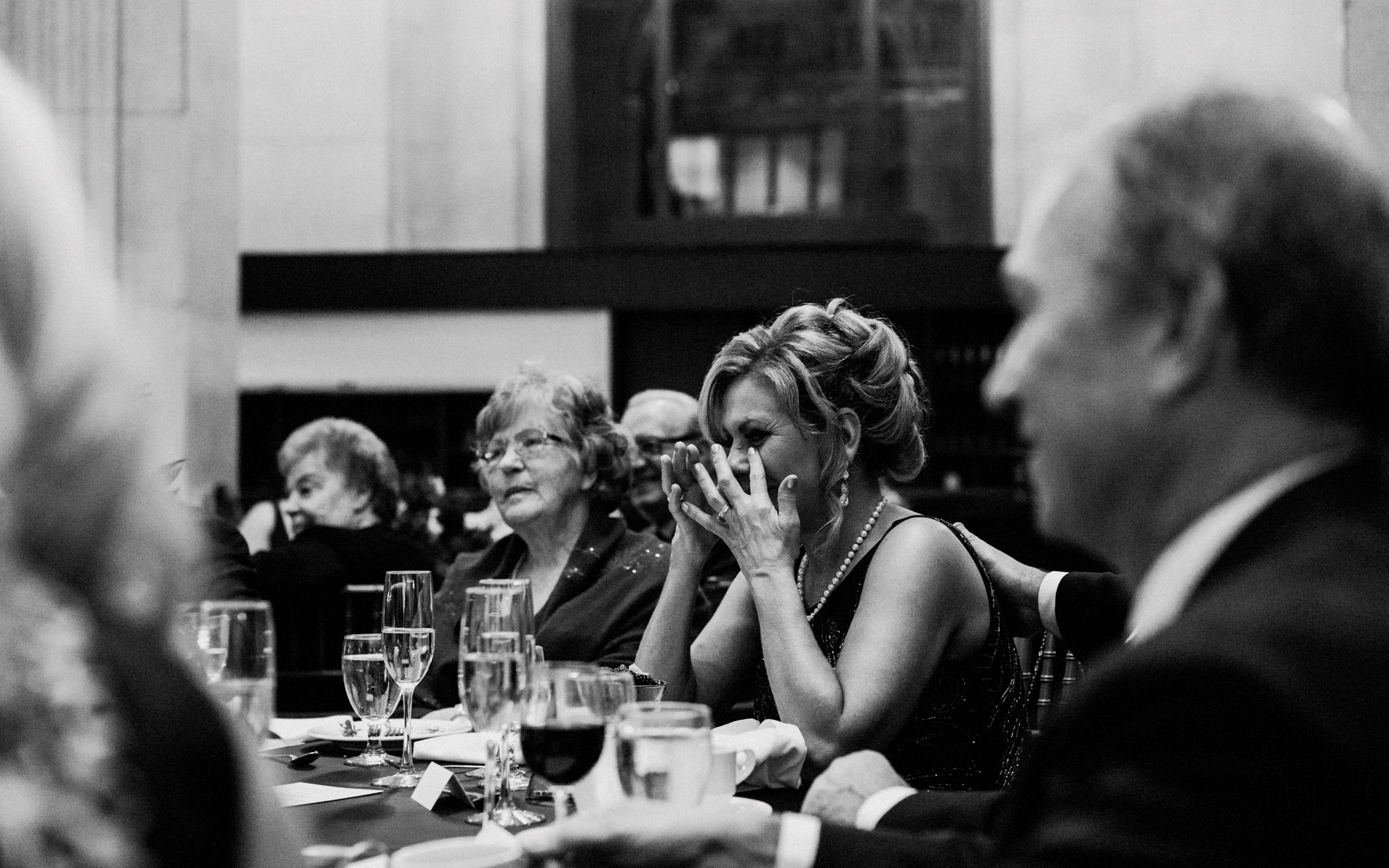mother of the bride cries during speech