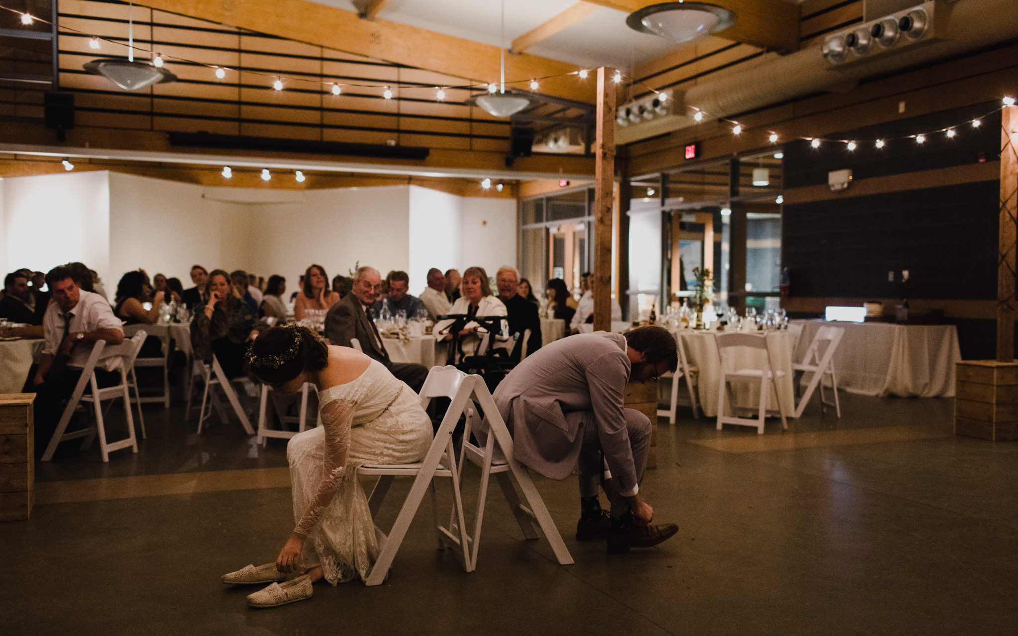 bride and groom play reception game