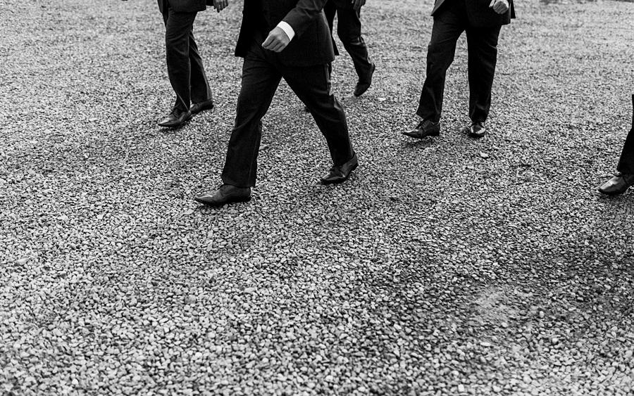 groomsmen walking shot