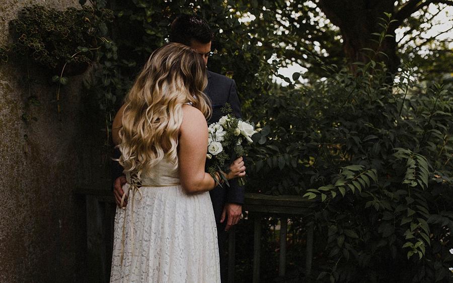 bride groom in garden