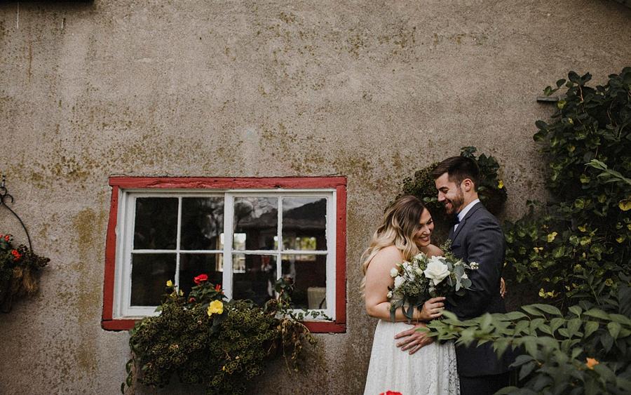 bride groom in cute garden