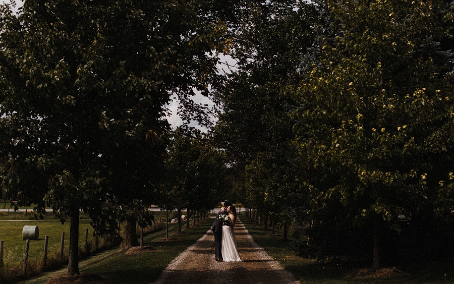 bride groom stand in tree lined path