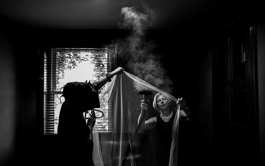 steaming bridal veil