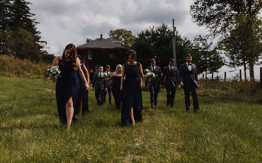 bridal party walk at farm
