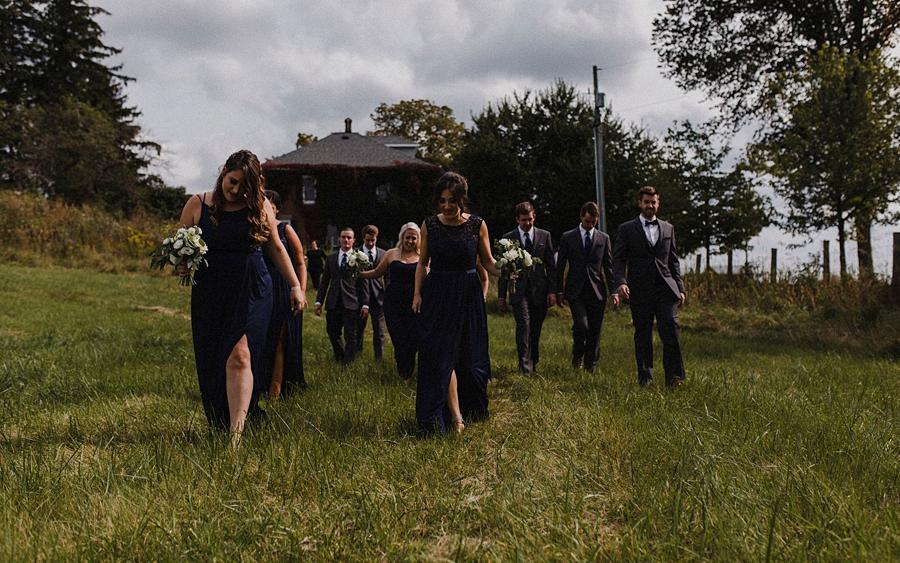 bridal party walk at farm