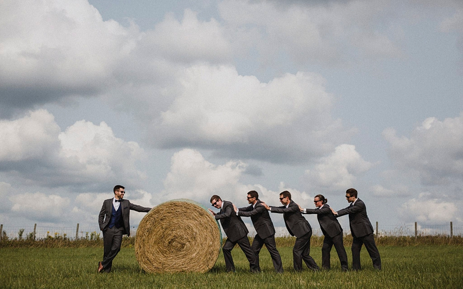 groomsmen portrait with wheat