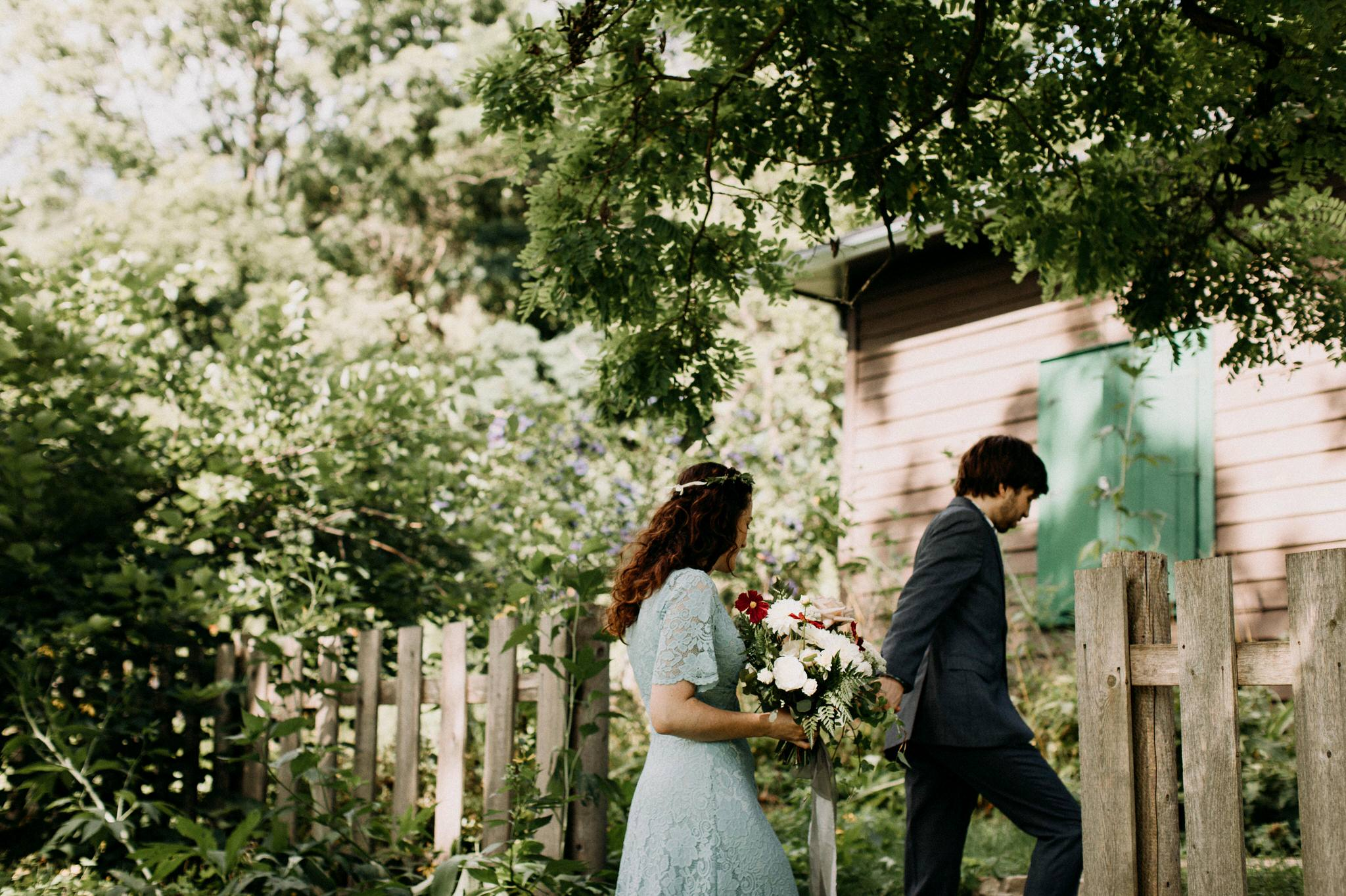 Merchants of Green Coffee Wedding - walking through the garden