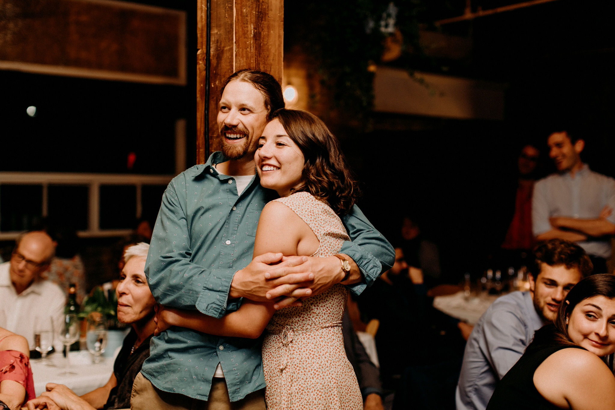 Merchants of Green Coffee Wedding - guests embrace