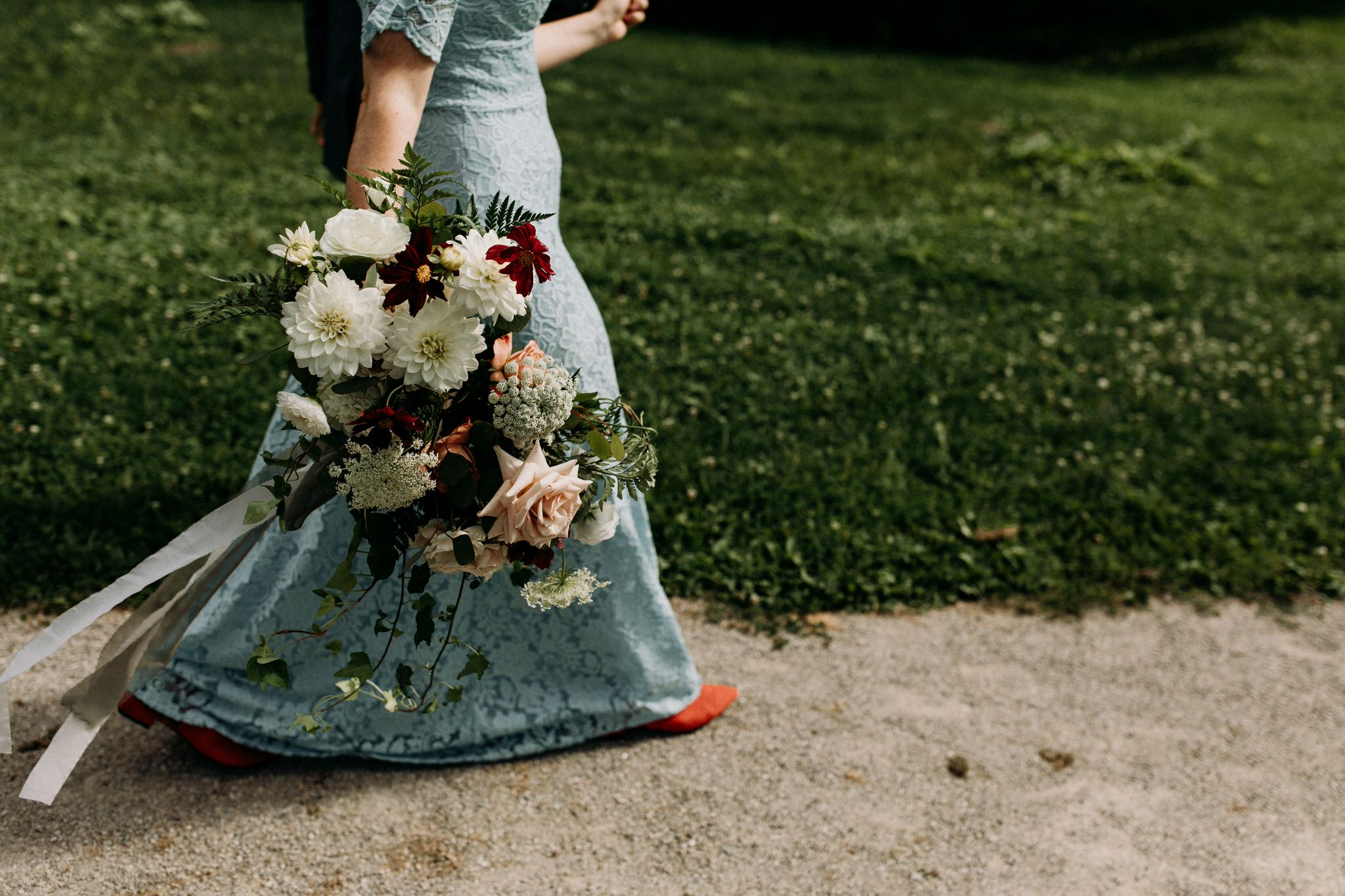 Merchants of Green Coffee Wedding - blog wedding dress and mixed florals