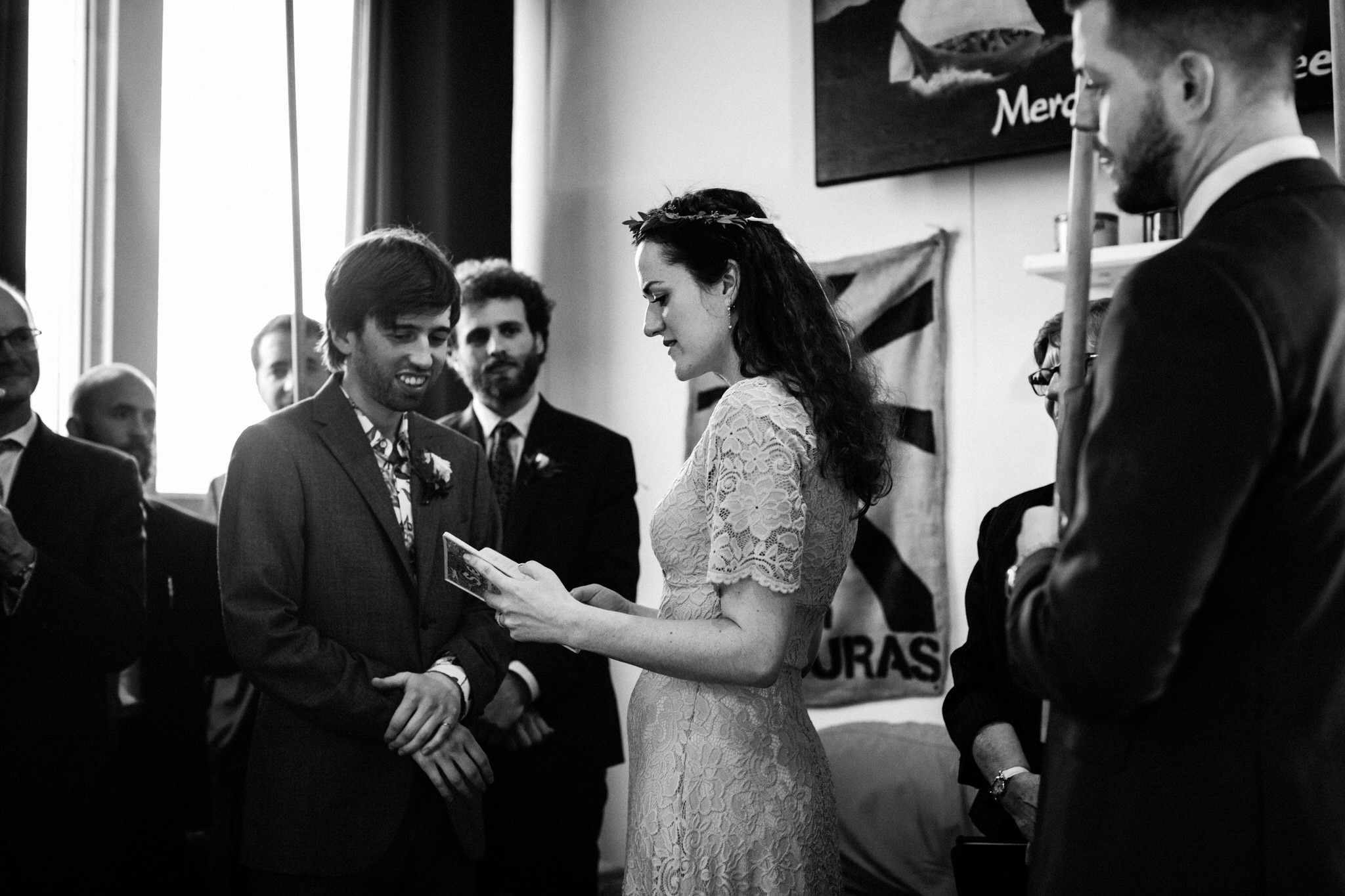 Merchants of Green Coffee Wedding - exchanging vows