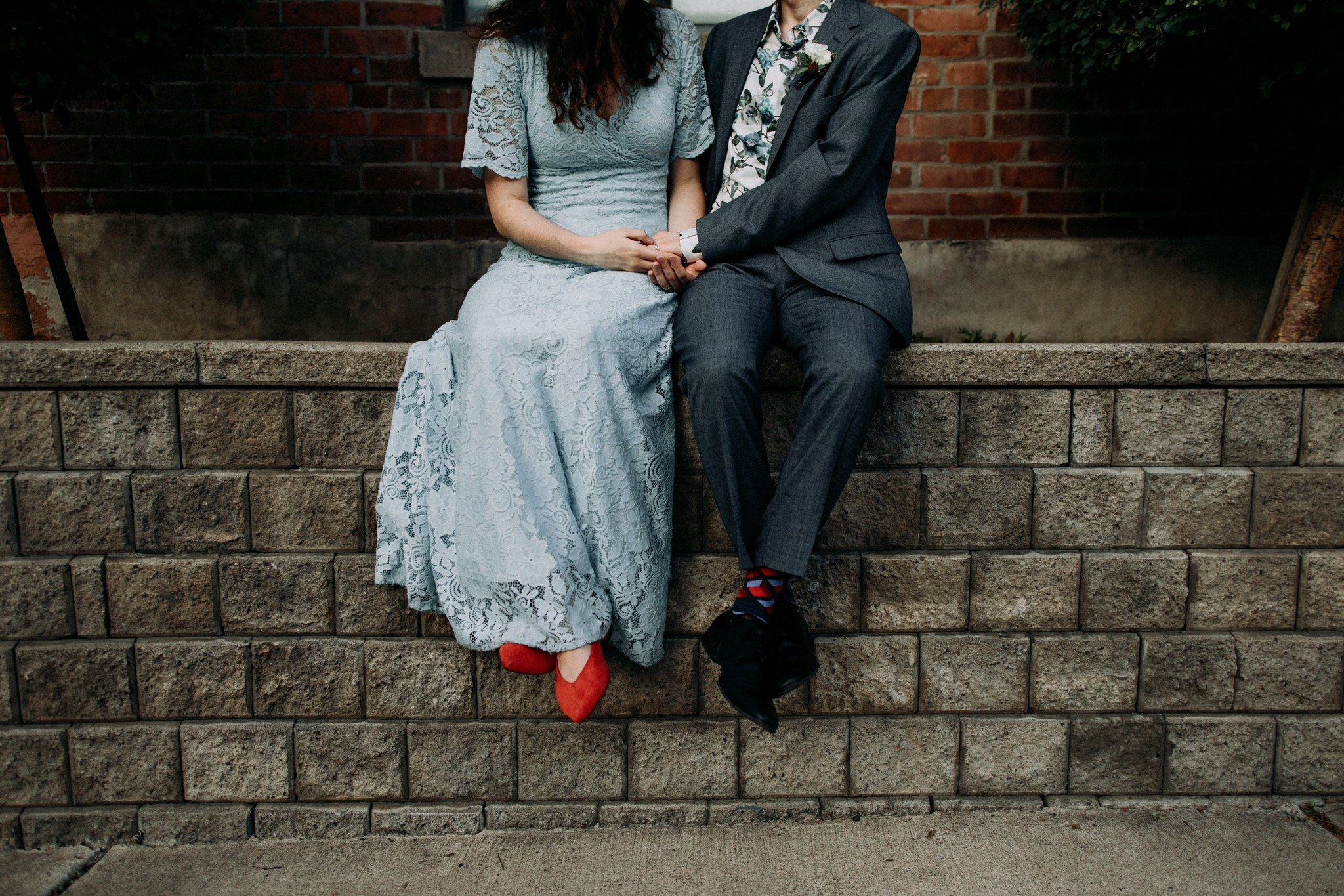 Merchants of Green Coffee Wedding - blue dress red shoes