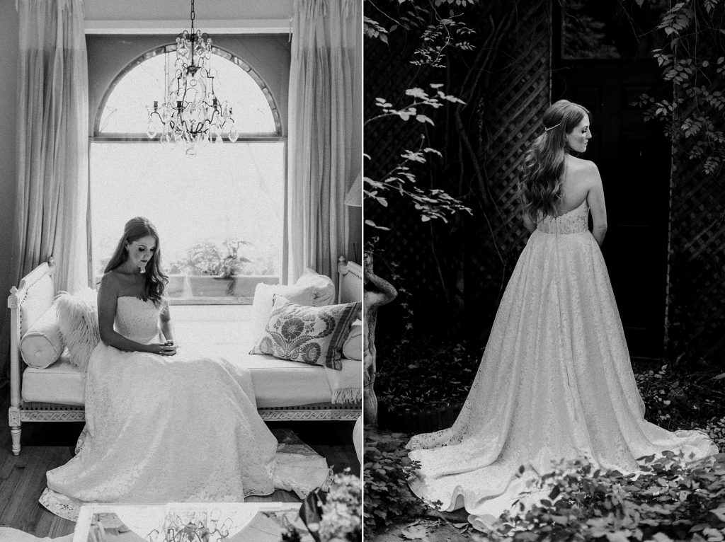 Black and white Diptych of bride indoors and outdoors - Autumn Micro Wedding at Berkeley Fieldhouse