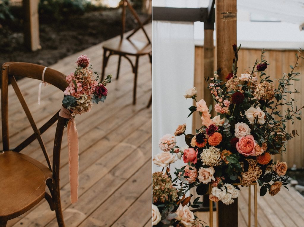 Peach Floral-arrangement details on alter and chairs - Autumn Micro Wedding at Berkeley Fieldhouse