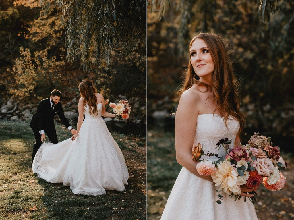 Groom gently places brides wedding gown train on the grass -brides Autumn Micro Wedding at Berkeley Fieldhouse