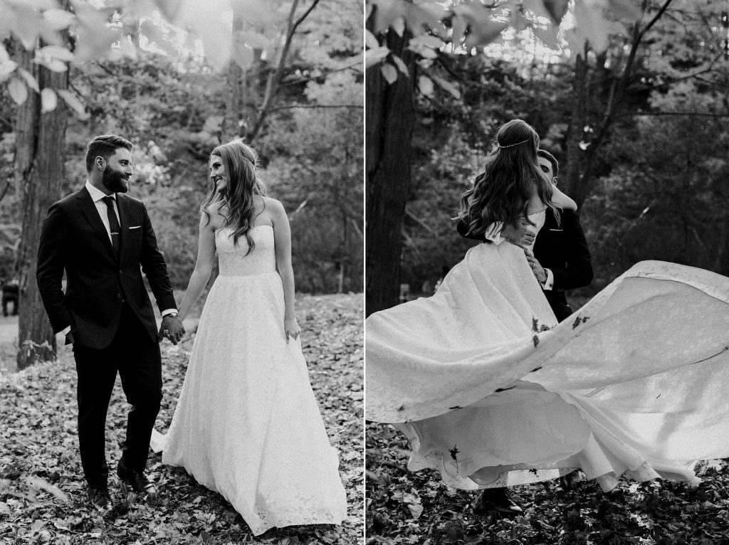 Black and white photo of Bride and groom dancing in the leaves - Autumn Micro Wedding at Berkeley Fieldhouse