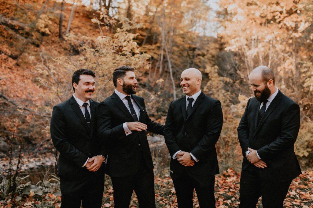 Groomsmen portrait in sunlit forest - Autumn Micro Wedding at Berkeley Fieldhouse