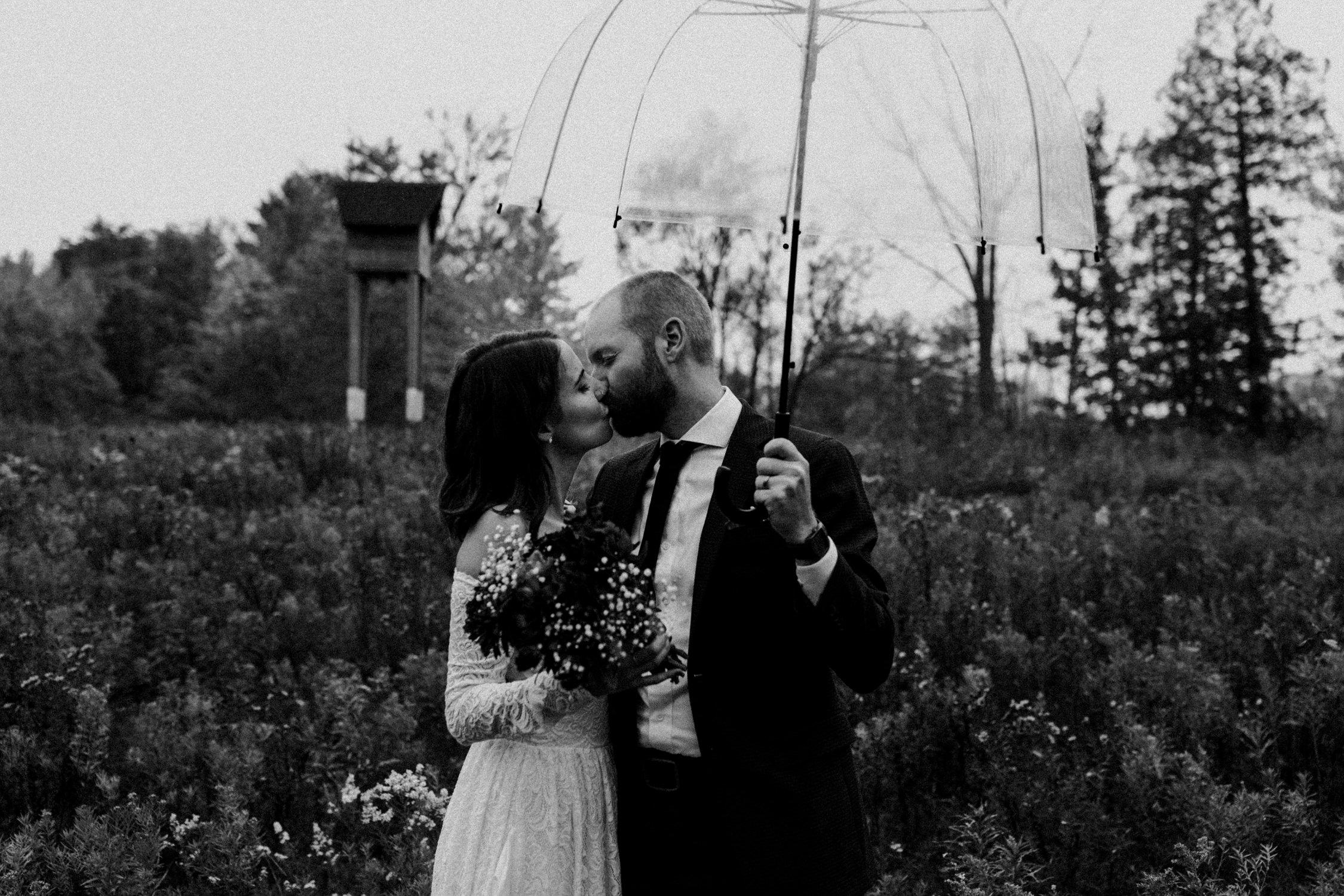 Bride and groom kiss under umbrella in field - Huron Natural Area Micro Wedding Kitchener, Ontario