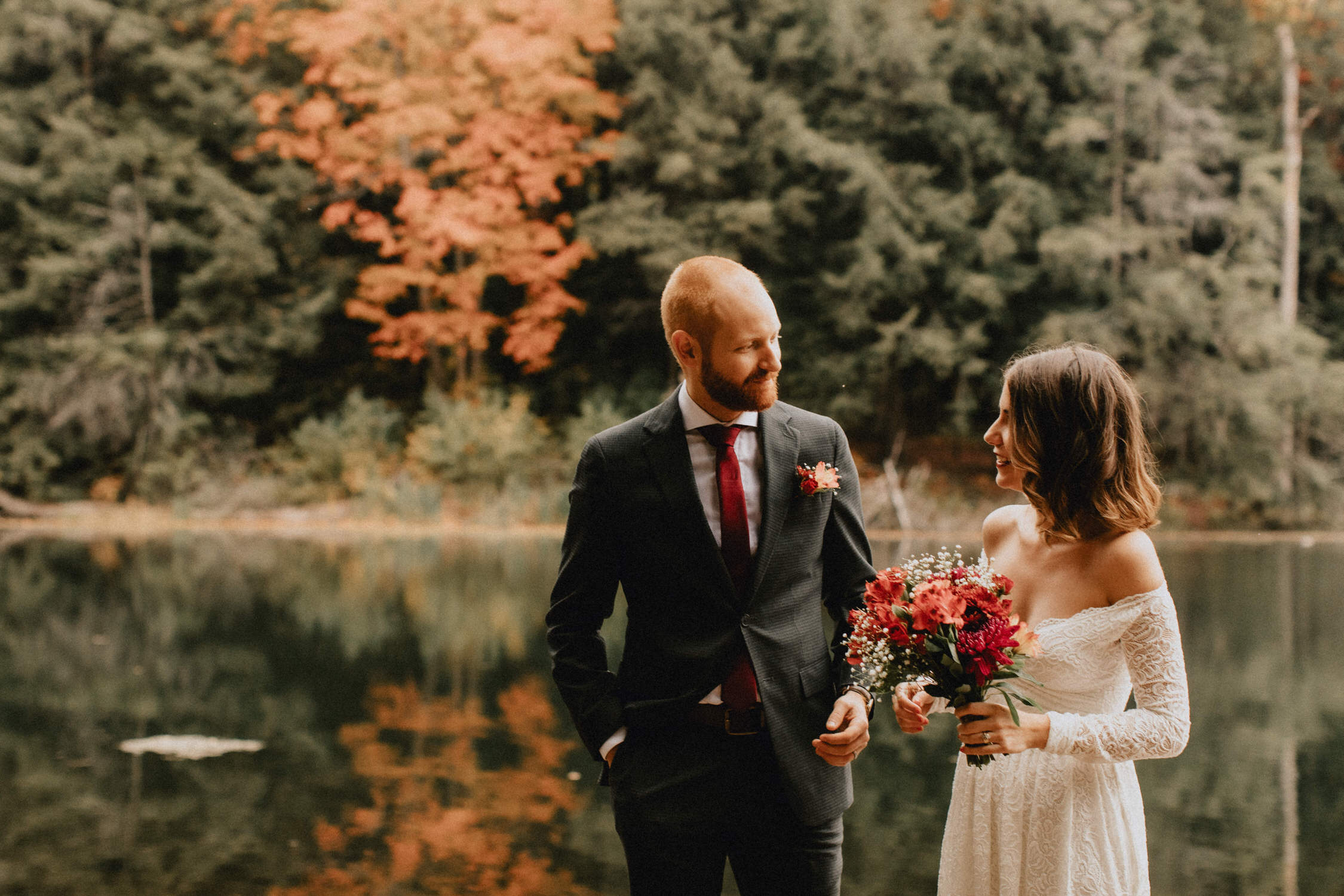 Bride and groom waterside ceremony - Huron Natural Area Micro Wedding Kitchener, Ontario