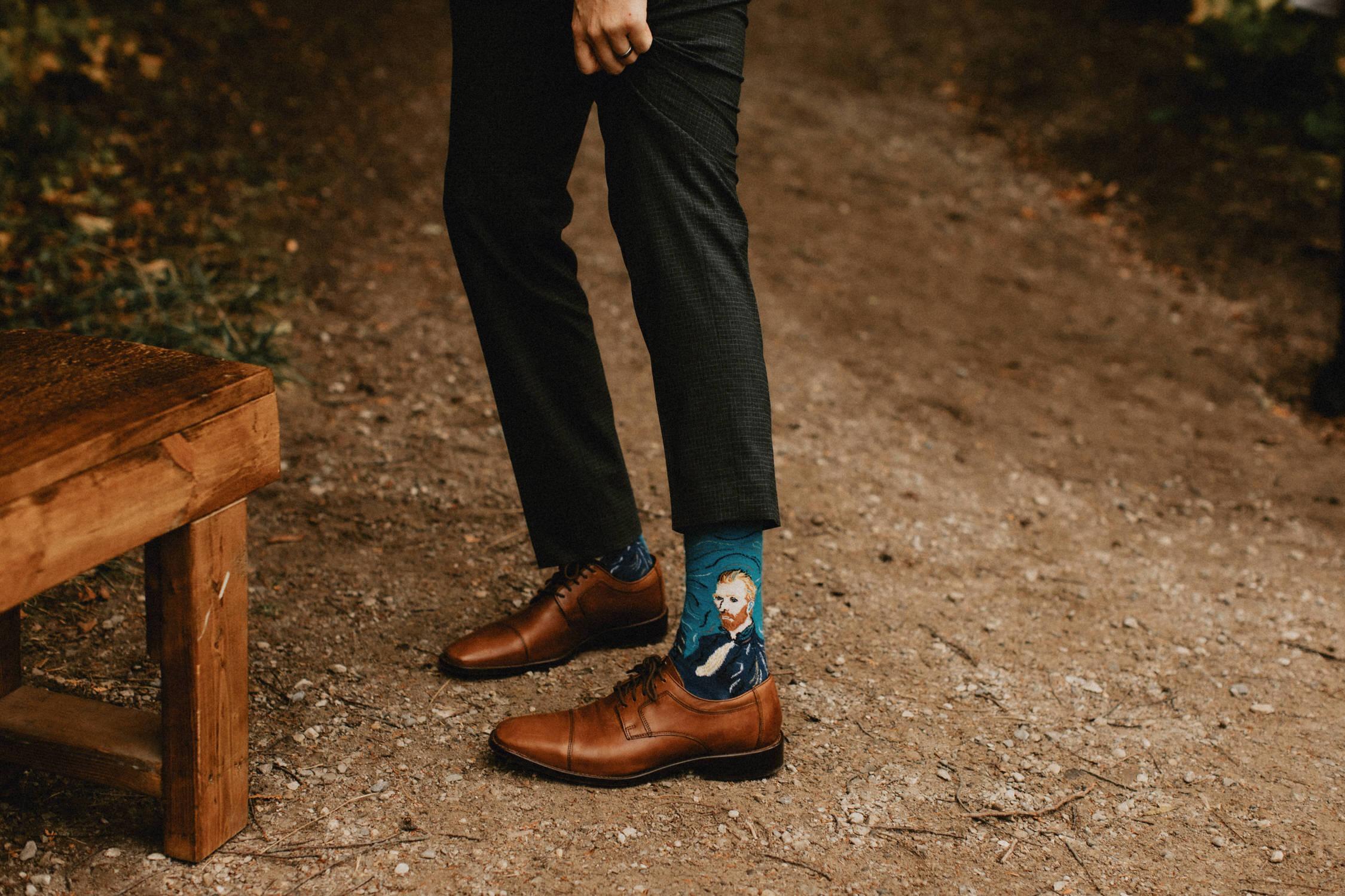 Groom with Van Gogh Socks - Huron Natural Area Micro Wedding Kitchener, Ontario