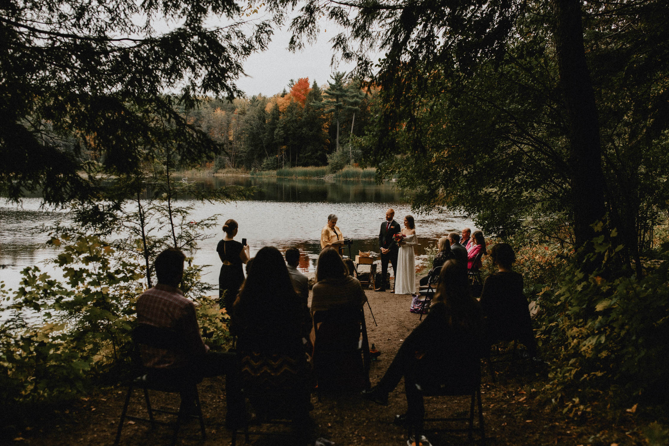 A small wedding ceremony at the edge of the pond - Huron Natural Area Micro Wedding , Kitchener, Ontario