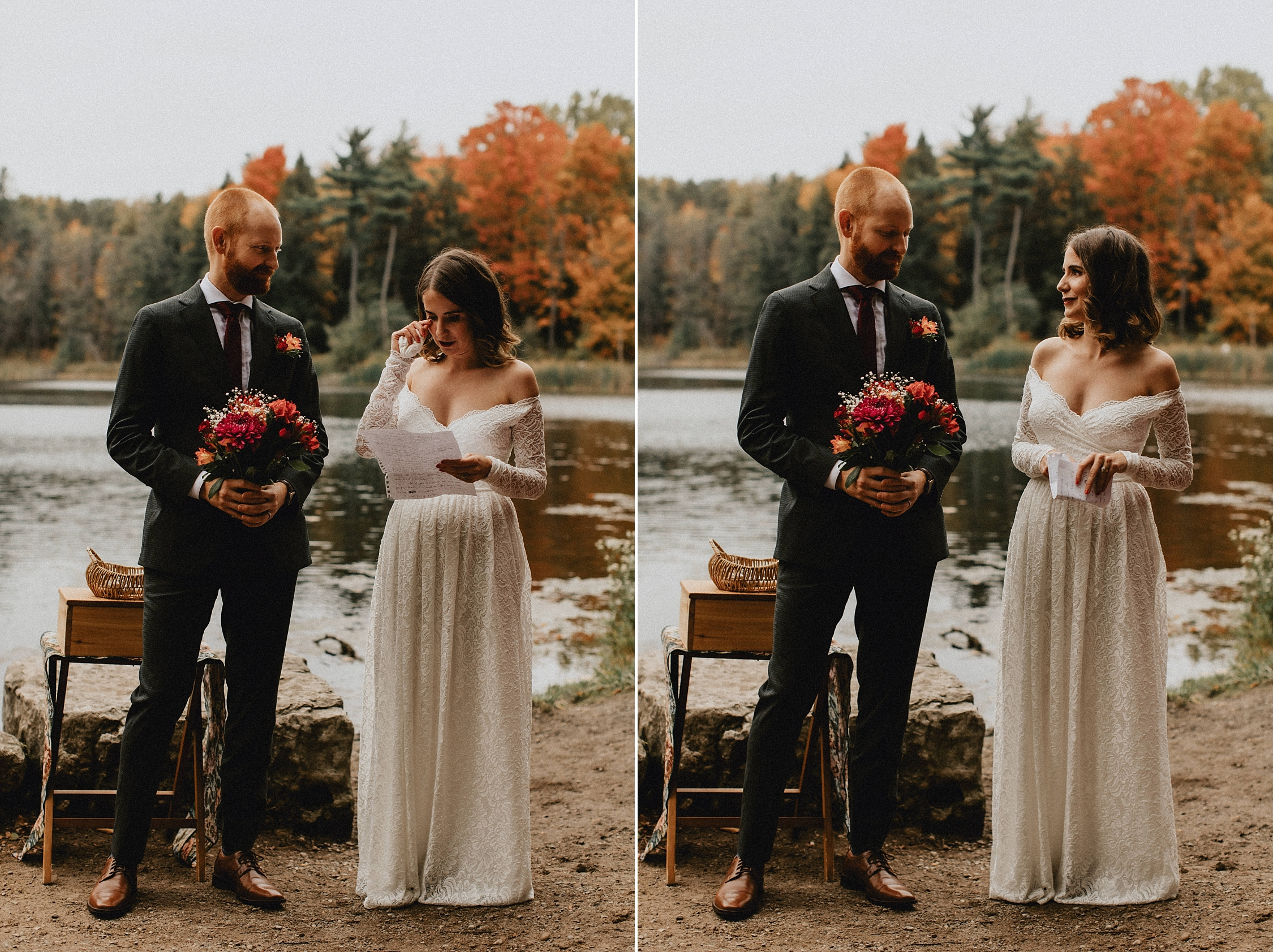 Bride reads vows to groom by pond -Huron Natural Area Micro Wedding Kitchener, Ontario