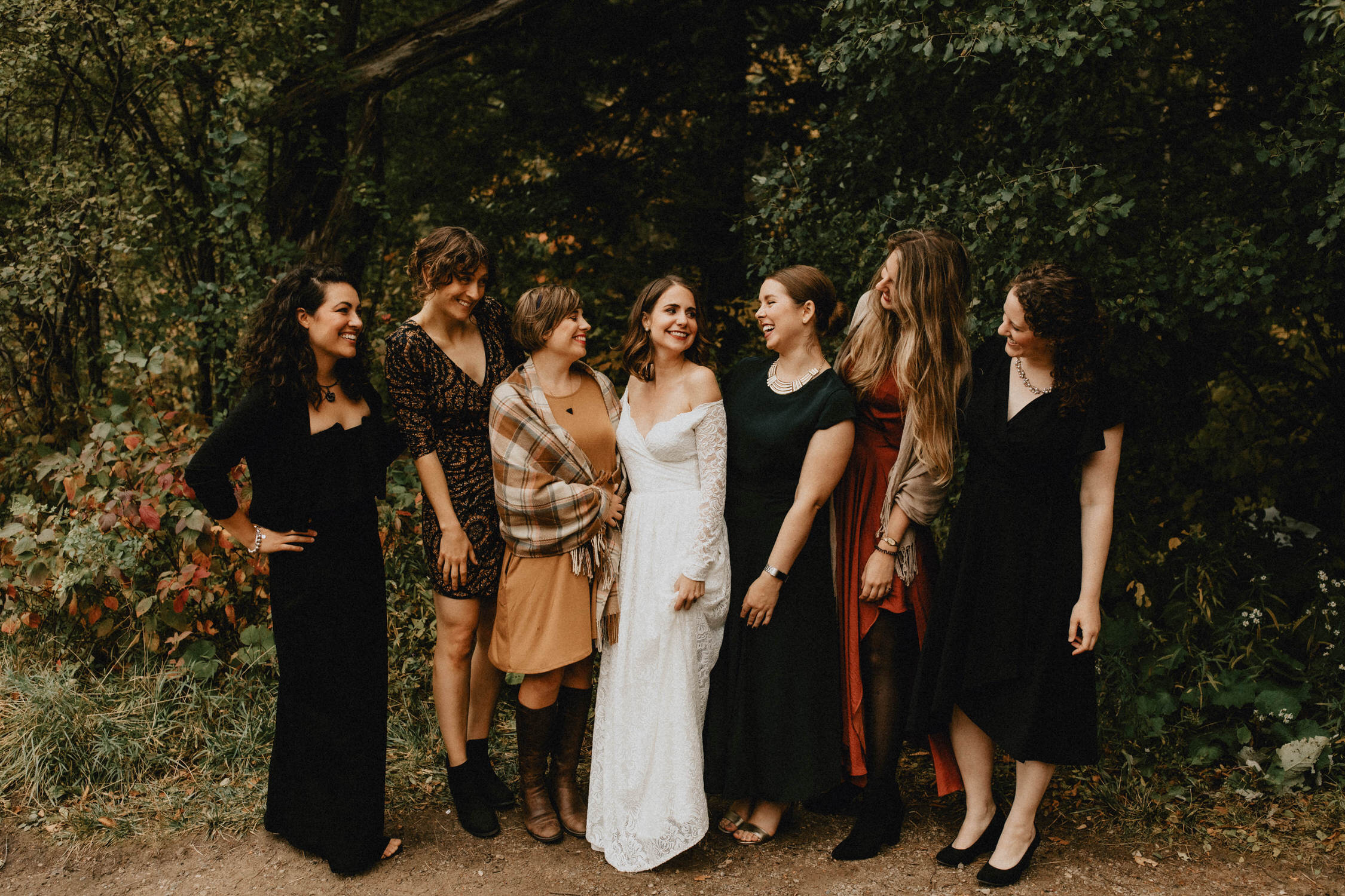 Bride with friends in forest - Huron Natural Area Micro Wedding Kitchener, Ontario