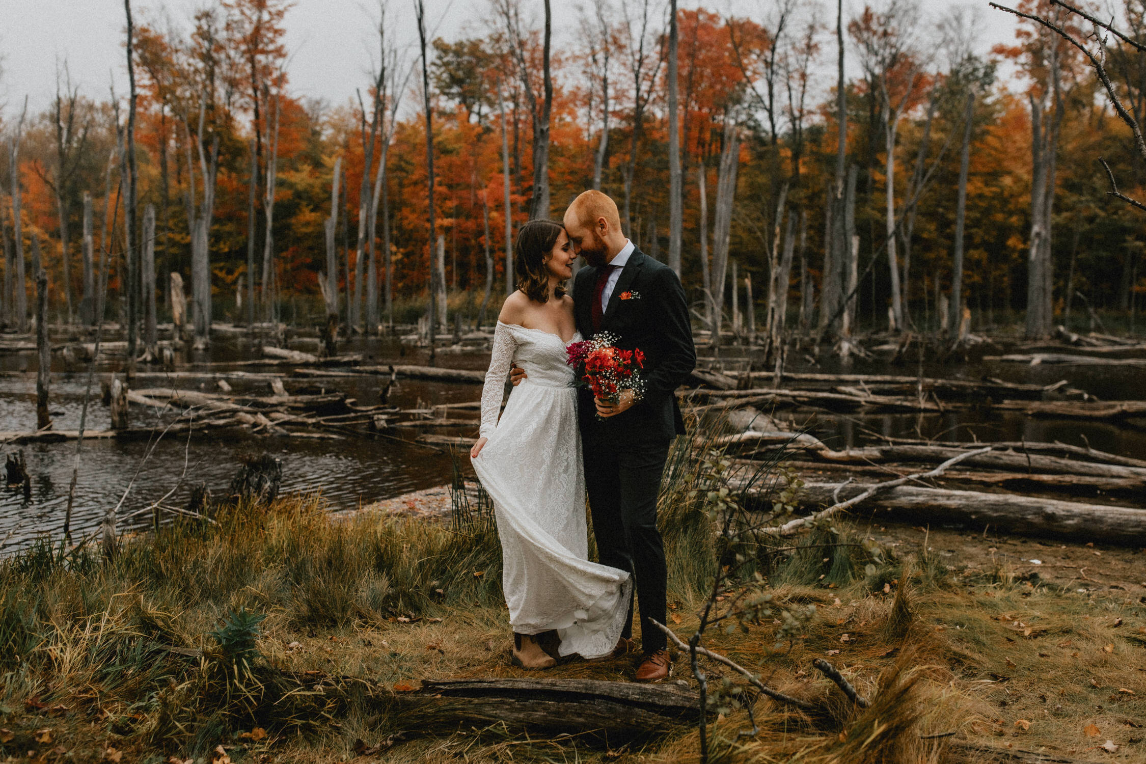 Bride and Groom embrace near the wetlands of Huron Natural Area - Micro Wedding, Kitchener, Ontario